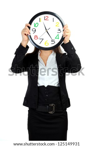 portrait of business woman with clock on white
