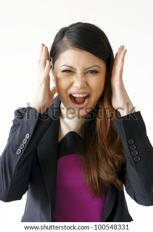 Portrait of Business women in Stress and Shout - stock photo