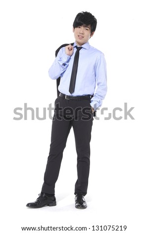 Portrait of business young man of Asian, full length portrait - stock photo