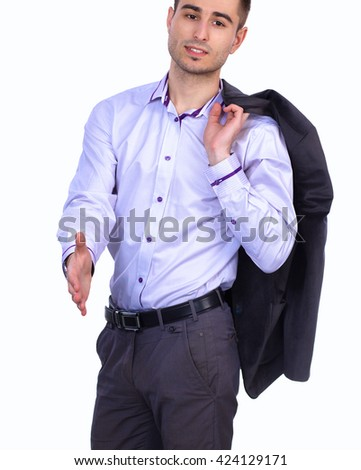 Portrait of businessman giving hand for handshake - stock photo