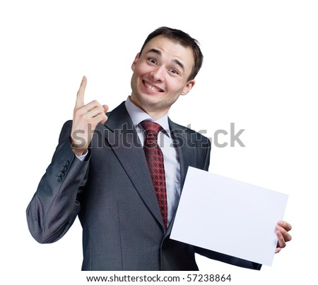 portrait of businessman holding a blank banner - stock photo