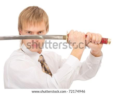 portrait of businessman in white shirt raising katana sword, on white background - stock photo