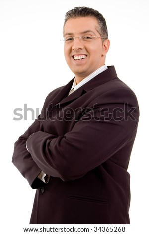 Portrait of businessman on white background - stock photo
