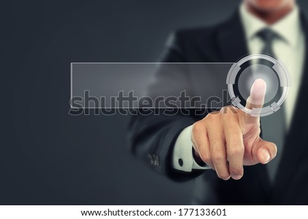 portrait of Businessman push to blank virtual screen. ready for your design - stock photo
