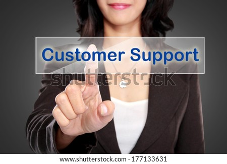 portrait of Businessman push to Customer support button on virtual screen - stock photo