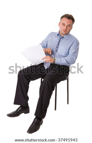 Portrait of Businessman running out of time isolated on white