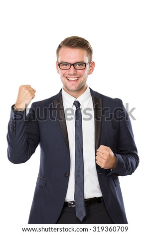 portrait of Businessman smile brightly, make fist victory gesture. ready for your design - stock photo