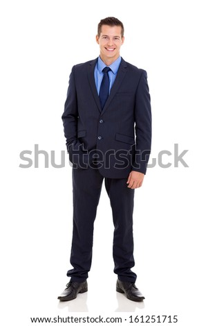 portrait of businessman standing with hand in pocket on white background - stock photo