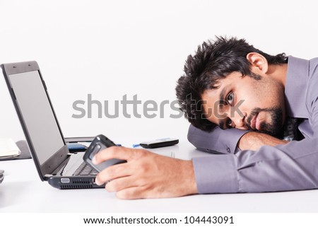 portrait of businessman tired after work
