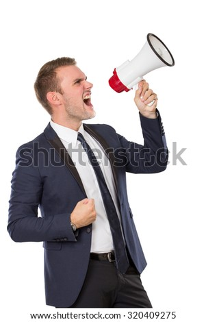 portrait of Businessman using a megaphone, screaming. isolated over white background - stock photo
