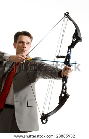 Portrait of businessman with crossbow isolated over white background - stock photo