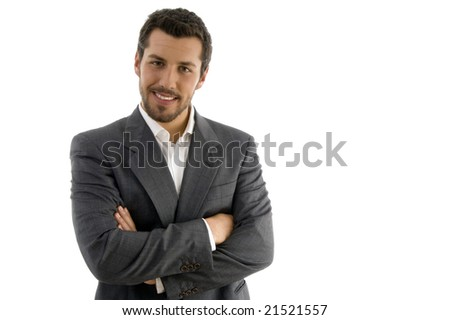 portrait of businessman with folded hands on an isolated background - stock photo