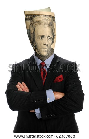 portrait of businessman with US bill isolated over white background - stock photo