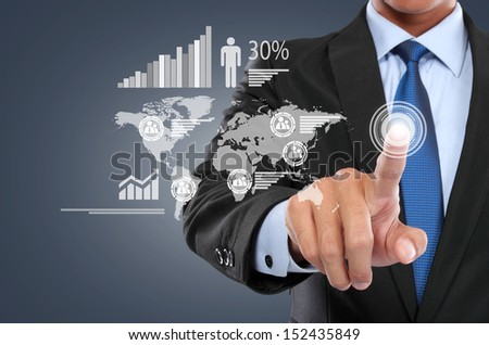 portrait of Businessman working with digital virtual screen - stock photo