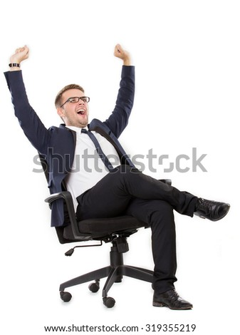 portrait of Businessman yawning, both hands up leg crossed. ready for your design