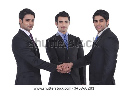 Portrait of businessmen united - stock photo