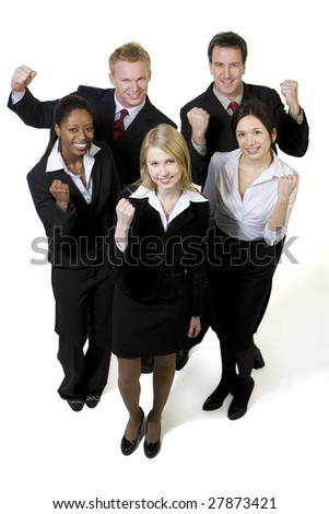 Portrait of businesspeople fist pumping