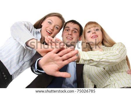 Portrait of businesspeople from below, hands together