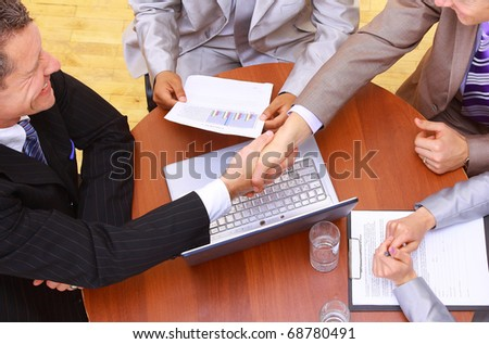 Portrait of businesspeople having a business meeting - stock photo