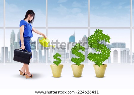 Portrait of businesswoman holding briefcase and watering the money tree to keep its growth - stock photo