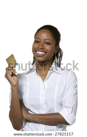 Portrait of businesswoman holding credit card