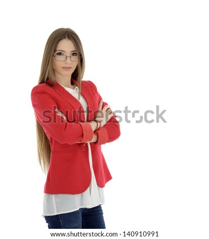 Portrait of businesswoman in red suit isolated on white background