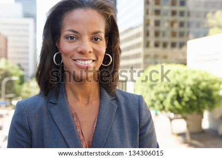 Portrait Of Businesswoman Outside Office - stock photo