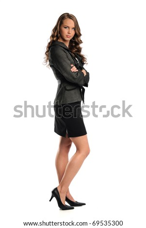 Portrait of businesswoman standing isolated over white background