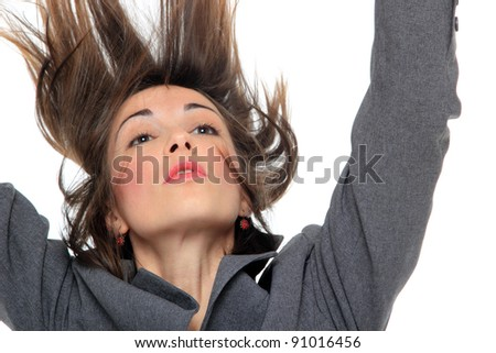 portrait of businesswoman with beautiful hair on a white background.fly hair.