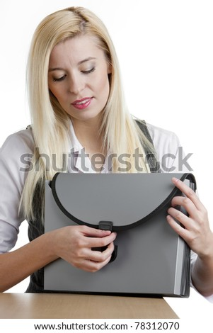 portrait of businesswoman with briefcase