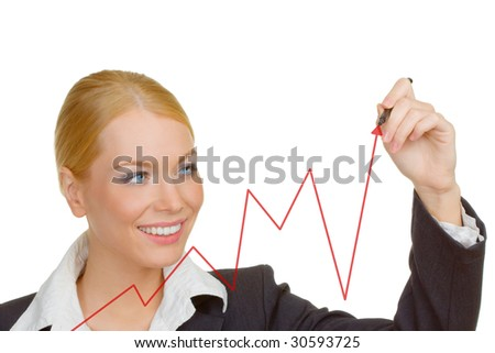 Portrait of businesswoman writing graph.