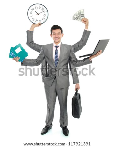 portrait of busy business man, do more than one job - stock photo