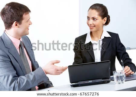 Portrait of busy companions discussing new business strategy at meeting - stock photo