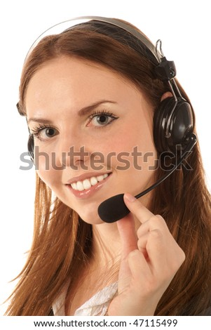 Portrait of call center operator - stock photo