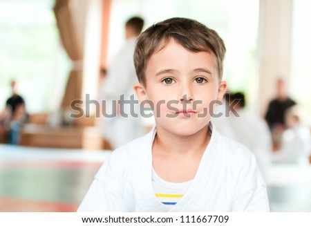 Portrait of calm karate boy training in sport hall - stock photo