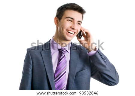 Portrait of casual businessman talking on mobile phone. Isolated on white - stock photo