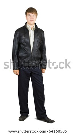 Portrait of casual man in  jacket.  Isolated over a white background