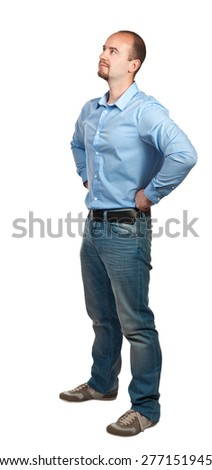 portrait of casual worker isolated on white background