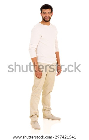 portrait of casual young indian man on white background - stock photo
