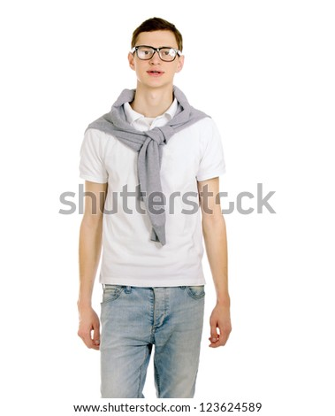 Portrait of casual young man standing , Isolated on white background