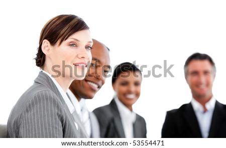 Portrait of caucasian businesswoman listenning a presentation against a white background - stock photo
