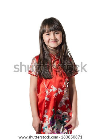 Portrait of caucasian little girl in vietnamese national costume isolated on white - stock photo
