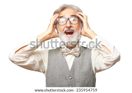 Portrait of caucasian stressed senior man with a gray beard, glasses and bowtie is in a flap isolated on white background - stock photo