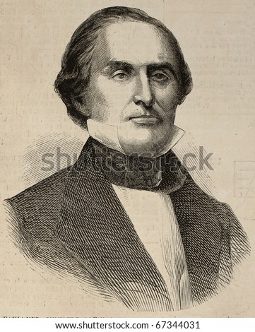 Portrait of Charles James Faulkner, United States Minister Plenipotentiary to France. Original, from drawing of Hofer, after photo of Brady, published on L'Illustration, Journal Universel, Paris, 1860 - stock photo