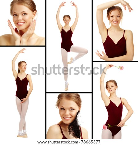 Portrait of charming ballet dancer on white looking at camera - stock photo