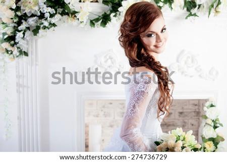 Portrait of charming bride. Wedding dress. Decoration - stock photo