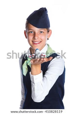 Portrait of Charming Girl Stewardess Dressed In Blue Uniform On White Background - stock photo