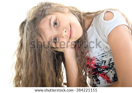 Portrait of charming smiling teenage girl. portrait of beautiful girl with long hair - stock photo