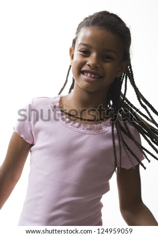 Portrait of cheerful African American girl - stock photo