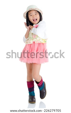 Portrait of cheerful asian girl - stock photo